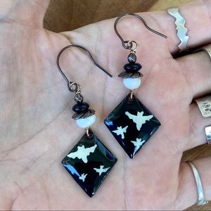 Handmade spooky Halloween bat charm earrings